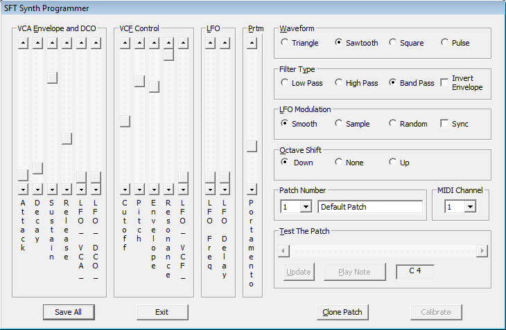 A screen capture of an early version of the SFT Synth Programmer application