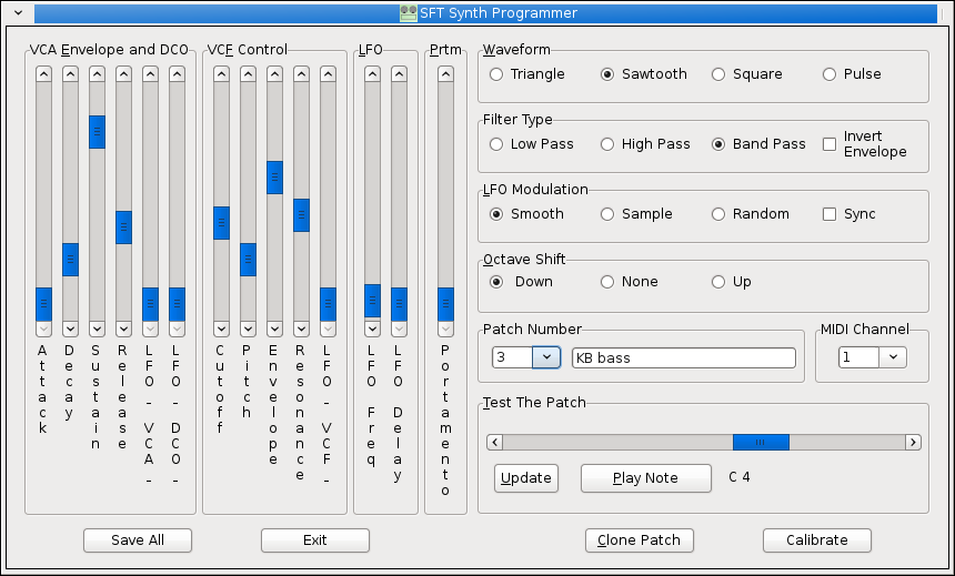 A similar screen capture of a preliminary wxWidgets version of the SFT Synth Programmer application