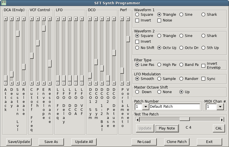 A similar screen capture of a newerr (wxWidgets) version of the SFT Synth Programmer application