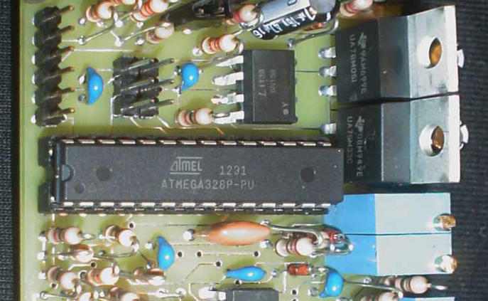 A closeup of the microcontroller on the S.F.T. Synth prototype board
